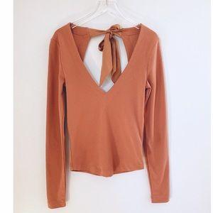 Free People Orange V Neck Open Tie Back Shirt XS
